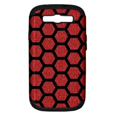 Hexagon2 Black Marble & Red Denim Samsung Galaxy S Iii Hardshell Case (pc+silicone) by trendistuff