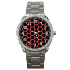 Hexagon2 Black Marble & Red Denim (r) Sport Metal Watch by trendistuff