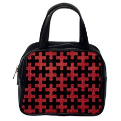 Puzzle1 Black Marble & Red Denim Classic Handbags (one Side) by trendistuff