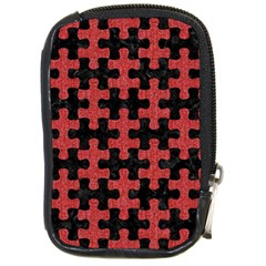 Puzzle1 Black Marble & Red Denim Compact Camera Cases by trendistuff