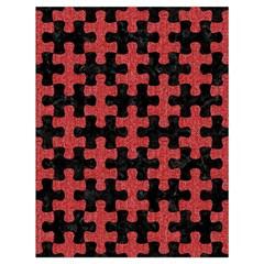 Puzzle1 Black Marble & Red Denim Drawstring Bag (large) by trendistuff