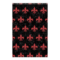 Royal1 Black Marble & Red Denim Shower Curtain 48  X 72  (small)  by trendistuff