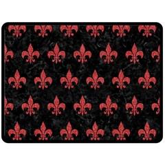 Royal1 Black Marble & Red Denim Double Sided Fleece Blanket (large)  by trendistuff