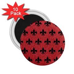 Royal1 Black Marble & Red Denim (r) 2 25  Magnets (10 Pack)  by trendistuff
