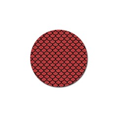 Scales1 Black Marble & Red Denim Golf Ball Marker (10 Pack) by trendistuff