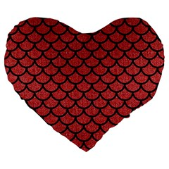 Scales1 Black Marble & Red Denim Large 19  Premium Heart Shape Cushions by trendistuff