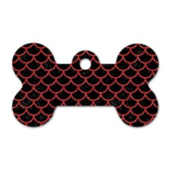 Scales1 Black Marble & Red Denim (r) Dog Tag Bone (one Side) by trendistuff