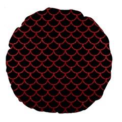 Scales1 Black Marble & Red Denim (r) Large 18  Premium Round Cushions by trendistuff