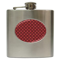Scales2 Black Marble & Red Denim Hip Flask (6 Oz) by trendistuff
