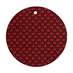 Scales2 Black Marble & Red Denim Round Ornament (two Sides) by trendistuff