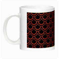 Scales2 Black Marble & Red Denim (r) Night Luminous Mugs by trendistuff