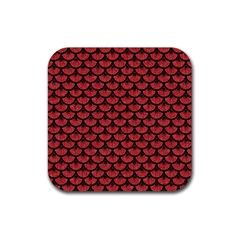 Scales3 Black Marble & Red Denim Rubber Square Coaster (4 Pack)  by trendistuff