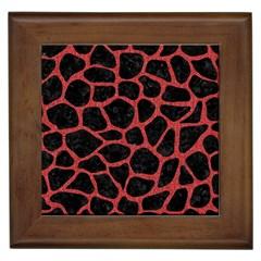 Skin1 Black Marble & Red Denim Framed Tiles