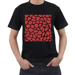 Skin1 Black Marble & Red Denim (r) Men s T Shirt (black) (two Sided) by trendistuff