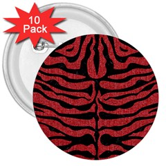 Skin2 Black Marble & Red Denim 3  Buttons (10 Pack)