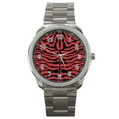 Skin2 Black Marble & Red Denim Sport Metal Watch by trendistuff