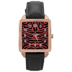 Skin2 Black Marble & Red Denim (r) Rose Gold Leather Watch  by trendistuff