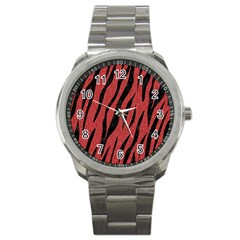 Skin3 Black Marble & Red Denim Sport Metal Watch by trendistuff
