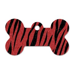 Skin3 Black Marble & Red Denim Dog Tag Bone (one Side) by trendistuff