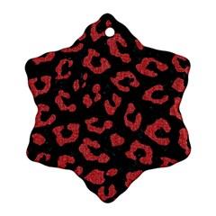 Skin5 Black Marble & Red Denim Snowflake Ornament (two Sides) by trendistuff