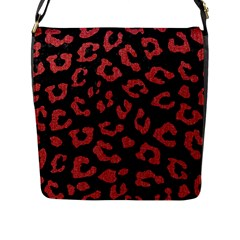 Skin5 Black Marble & Red Denim Flap Messenger Bag (l)  by trendistuff