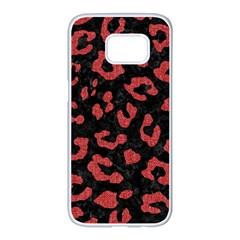 Skin5 Black Marble & Red Denim Samsung Galaxy S7 Edge White Seamless Case by trendistuff