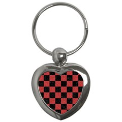Square1 Black Marble & Red Denim Key Chains (heart)  by trendistuff