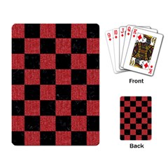 Square1 Black Marble & Red Denim Playing Card by trendistuff