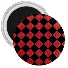 Square2 Black Marble & Red Denim 3  Magnets by trendistuff