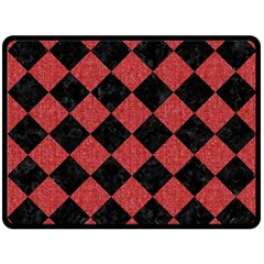 Square2 Black Marble & Red Denim Double Sided Fleece Blanket (large)  by trendistuff