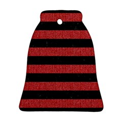 Stripes2 Black Marble & Red Denim Bell Ornament (two Sides) by trendistuff