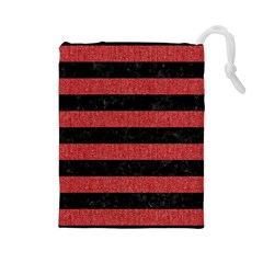 Stripes2 Black Marble & Red Denim Drawstring Pouches (large)  by trendistuff