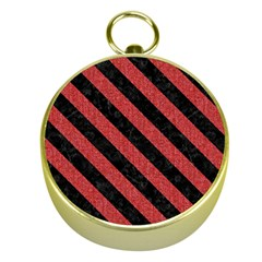 Stripes3 Black Marble & Red Denim Gold Compasses by trendistuff