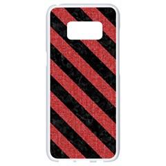 Stripes3 Black Marble & Red Denim Samsung Galaxy S8 White Seamless Case by trendistuff