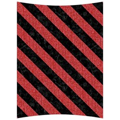 Stripes3 Black Marble & Red Denim Back Support Cushion