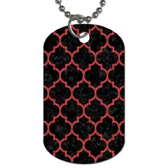 Tile1 Black Marble & Red Denim (r) Dog Tag (two Sides) by trendistuff