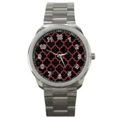 Tile1 Black Marble & Red Denim (r) Sport Metal Watch by trendistuff