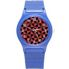 Triangle1 Black Marble & Red Denim Round Plastic Sport Watch (s) by trendistuff