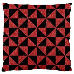 Triangle1 Black Marble & Red Denim Large Cushion Case (one Side) by trendistuff