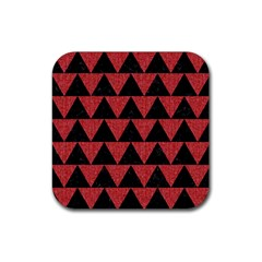 Triangle2 Black Marble & Red Denim Rubber Square Coaster (4 Pack)  by trendistuff