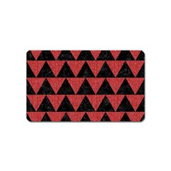 Triangle2 Black Marble & Red Denim Magnet (name Card) by trendistuff
