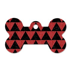 Triangle2 Black Marble & Red Denim Dog Tag Bone (one Side) by trendistuff