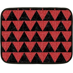 Triangle2 Black Marble & Red Denim Fleece Blanket (mini) by trendistuff