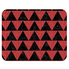 Triangle2 Black Marble & Red Denim Double Sided Flano Blanket (medium)  by trendistuff