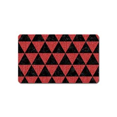 Triangle3 Black Marble & Red Denim Magnet (name Card) by trendistuff