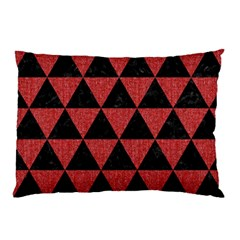 Triangle3 Black Marble & Red Denim Pillow Case by trendistuff