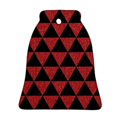 Triangle3 Black Marble & Red Denim Bell Ornament (two Sides) by trendistuff