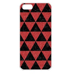 Triangle3 Black Marble & Red Denim Apple Iphone 5 Seamless Case (white) by trendistuff