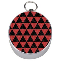 Triangle3 Black Marble & Red Denim Silver Compasses by trendistuff