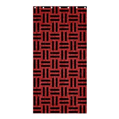 Woven1 Black Marble & Red Denim Shower Curtain 36  X 72  (stall)  by trendistuff